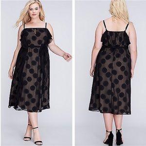 Lane Bryant Black Ruffle Midi Dress Sz 22/24 ::Z25